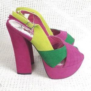 Funky Purple & Green Vegan Suede Platform Heels